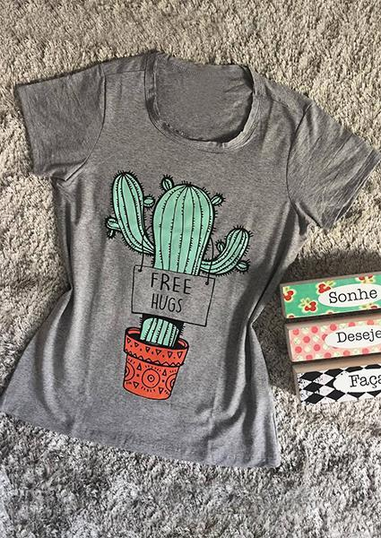 Cactus Letter Printed O-neck T-shirt