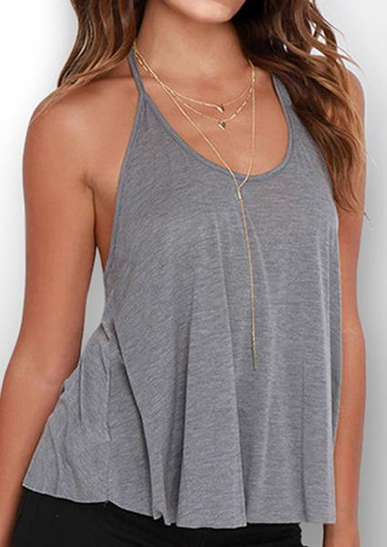Y-neck Solid Color Backless Camisole-Tanks-Fechicin.com