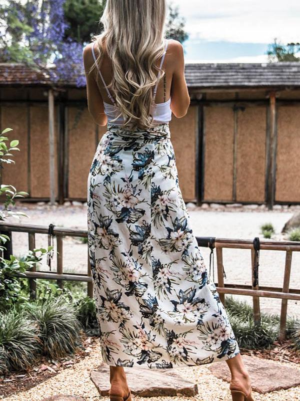 Floral Printed High Cut Sexy Dress