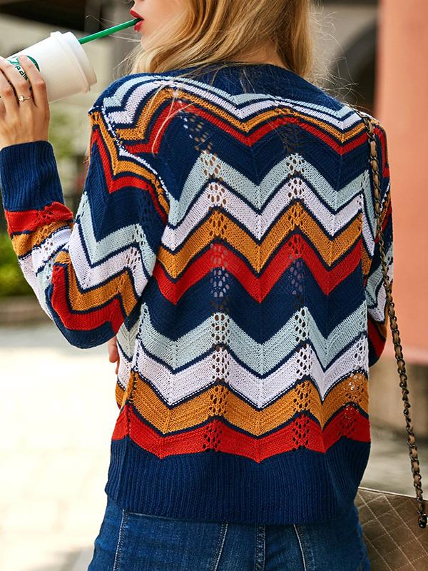 O-neck Rainbow Striped Sweater