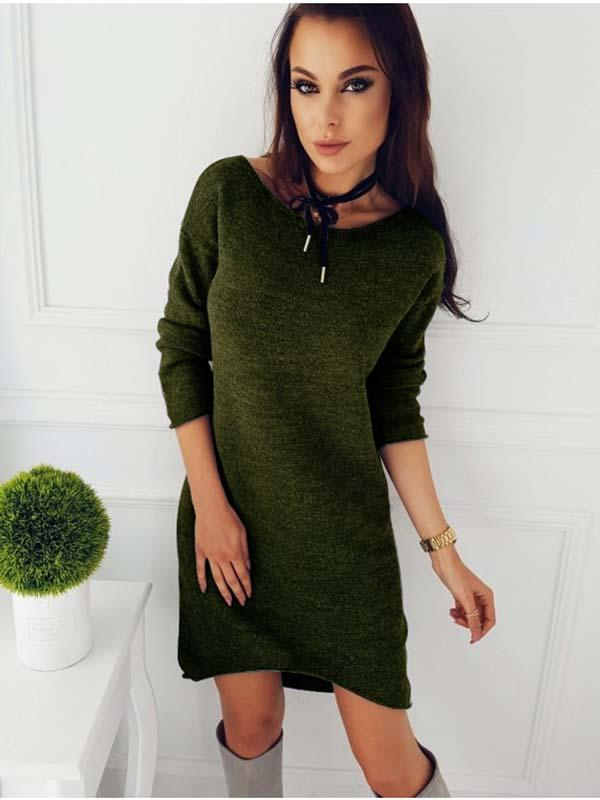 Solid Color Long Sleeve Sweater Drress