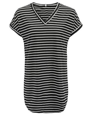 V-neck Striped Shirt Thin Mini Dress-Mini Dress-Fechicin.com