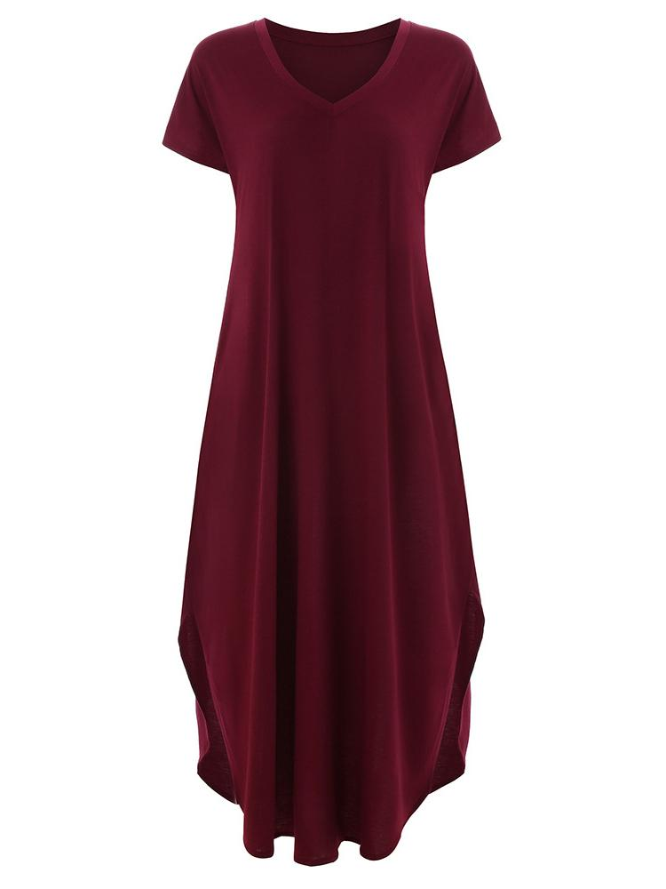V-Neck Solid Color Bat Sleeve Maxi Dress