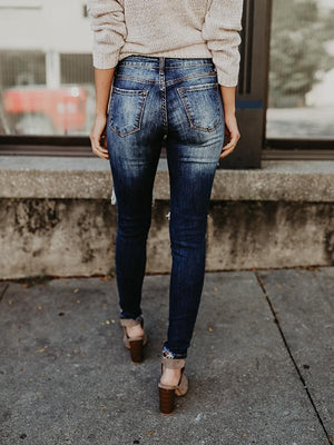 Hollow Out Pocket Skinny Jeans