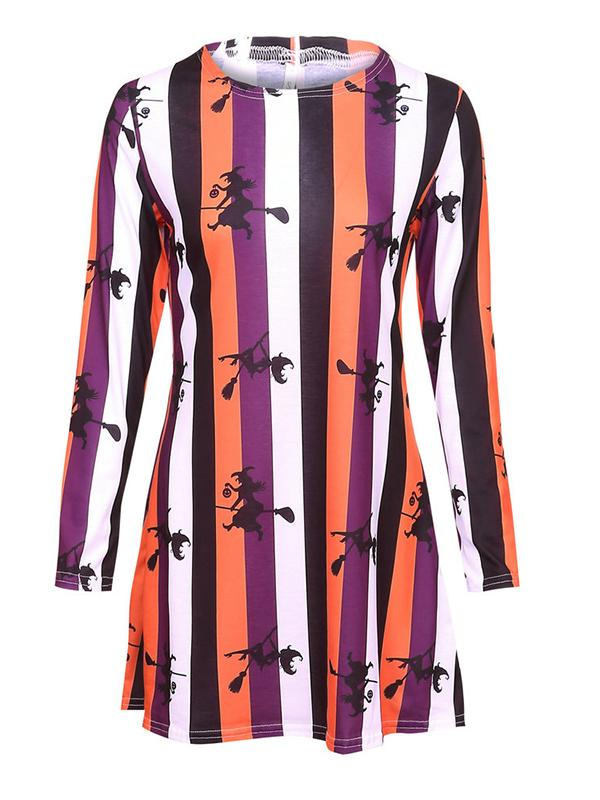 Halloween Striped Witch Broomstick Mini Dress