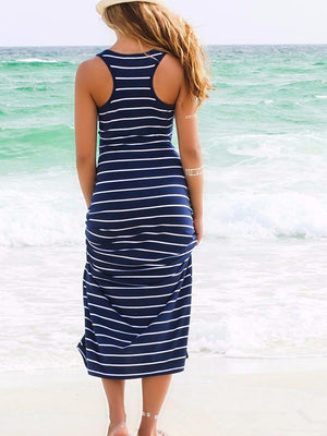 Stripe U-neck Sleeveless Maxi Dress