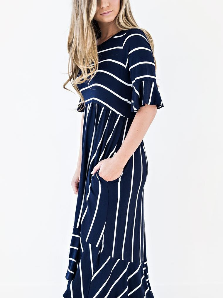 Stripe Printed Lotus Sleeve Long Dress