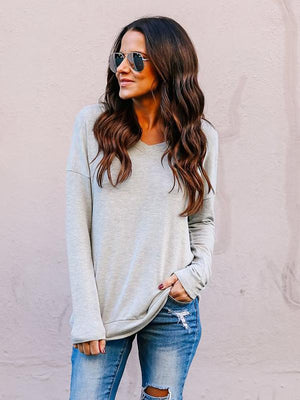 Solid V-neck Backless Blouse