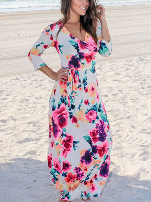 Deep V-Neck Floral Printed Maxi Dress-Maxi Dress-Fechicin.com