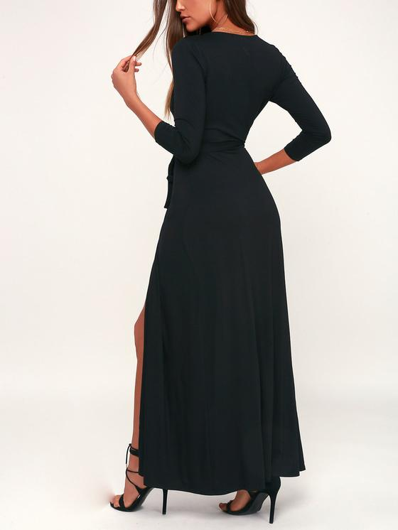 Deep V Solid Color High Cut Dress-Maxi Dress-Fechicin.com