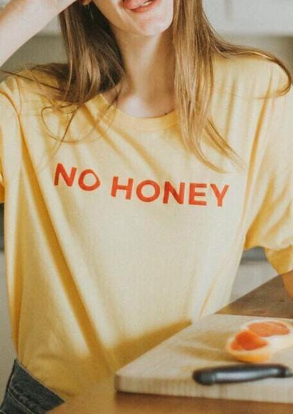 No Honey Letter Print T-shirt