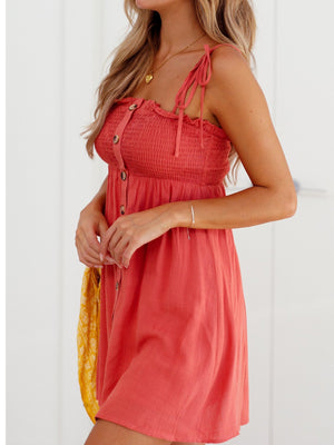 Wrapped Chest Button Tie Dress