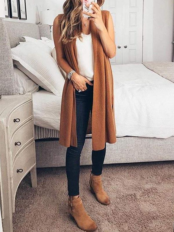 Solid Color Sleeveless Cardigan