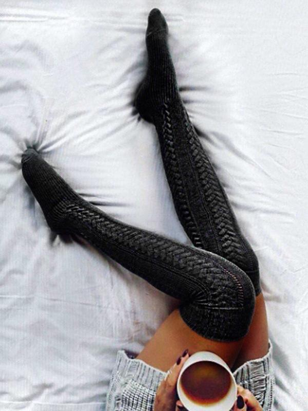 Long Boot Knitted Thigh-High Socks