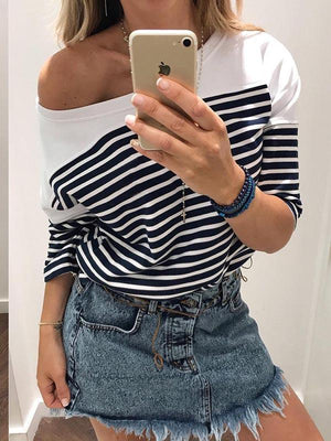 Stripe Off-Shoulder Long Sleeve T-shirt