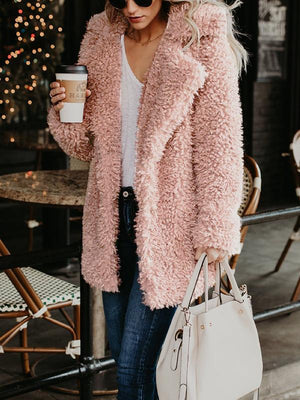 Solid Color Lapel Fur Outwear