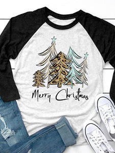 Merry Christmas Tree Baseball T-Shirt Tee