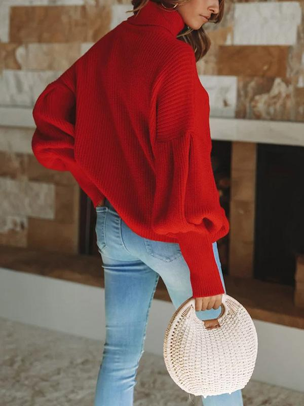 Solid Color Puff Sleeve Sweater