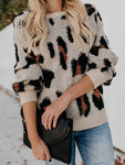 O-neck Leopard Print Long Sleeve Sweater