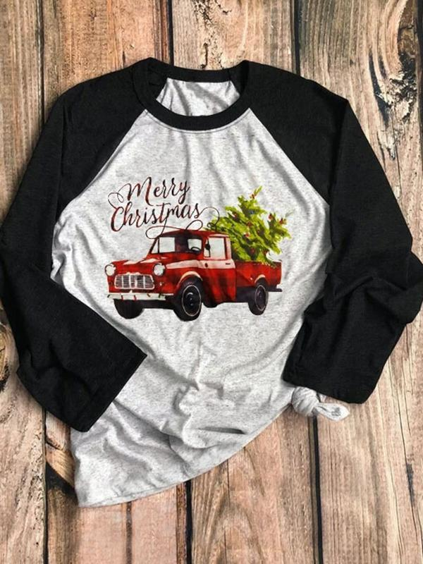 Merry Christmas Car Tree Baseball T-Shirt