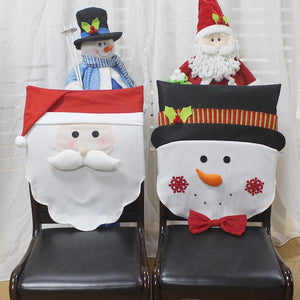 Santa Claus Red Hat Chair Christmas Decorations