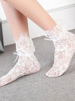 Solid Lace Floral See-Through Socks