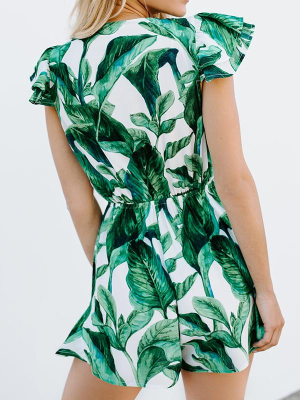 Deep V-neck Leaf Printed Lotus Dress