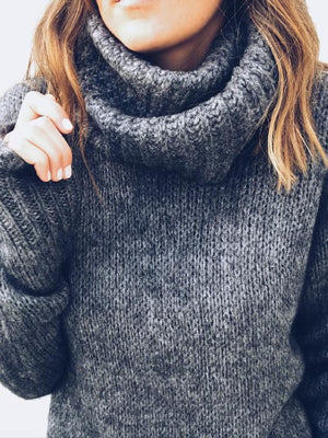 Solid Color Turtleneck Knitting Sweater