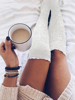 Solid Knitted Thigh-High Lace Socks