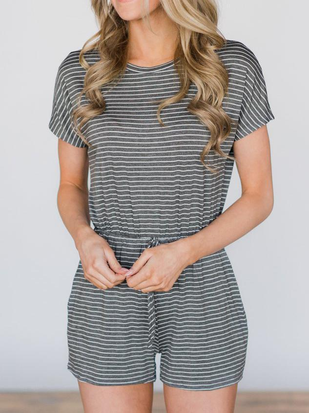 Summer Casual Pinstriped Jumpsuit