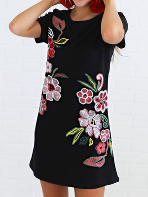 Floral Print Casual T-shirt Dress