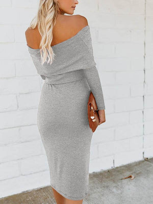 Off Shoulder Lace Slim Hip Dress