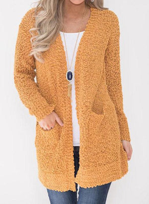 Solid Color Plush Cardigan With Pocket