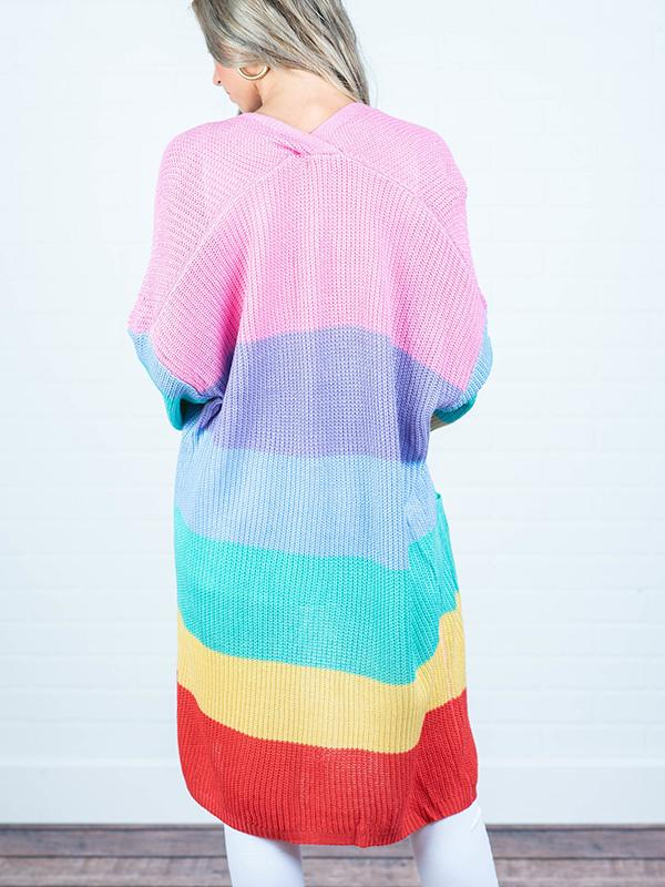 Rainbow Color Block Knitted Sweater