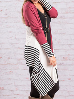 Open Front Stripe Irregular Cardigan