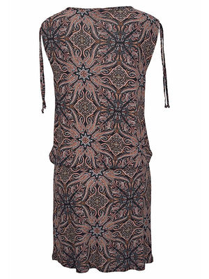 V-neck Strap Printed Casual Dress