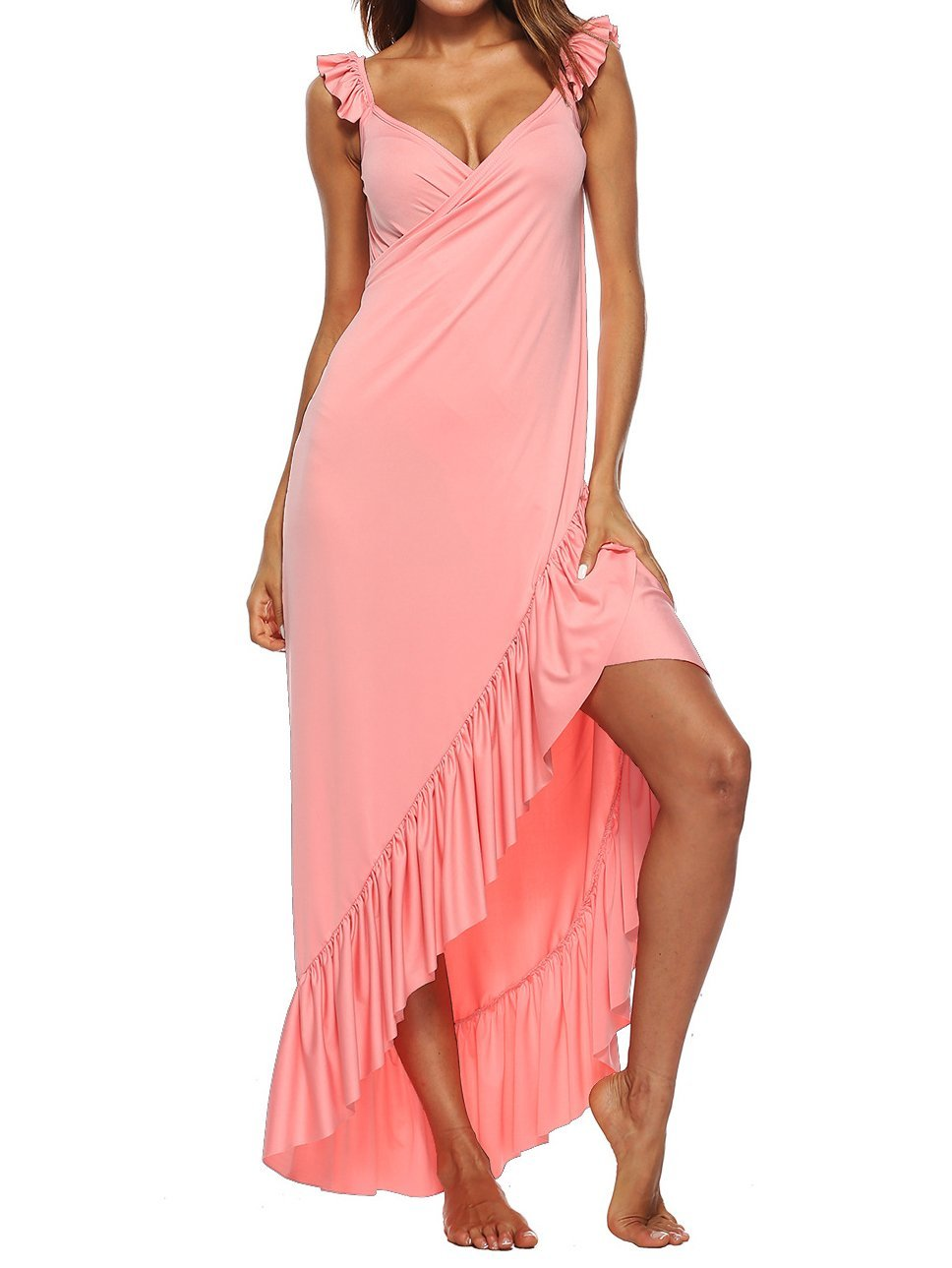 Solid Color V-neck Ruffled Beach Skirt