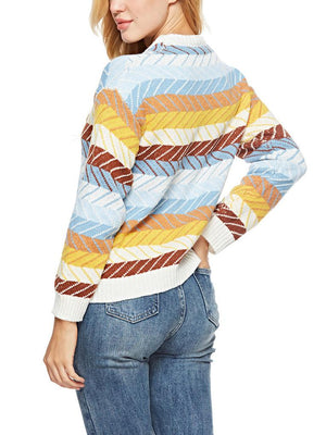 Rainbow O-neck Splice Sweater