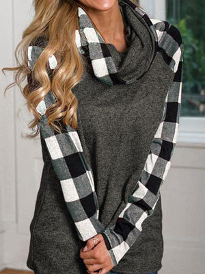 Plaid Long Sleeve Cowl Neck Top