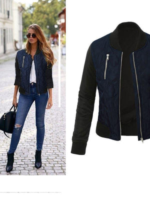 Basic Coat Casual Long Sleeve Bomber Jacket-Cardigans & Coats-Fechicin.com