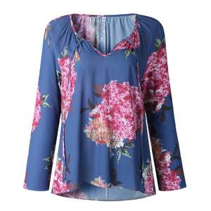 V neck Floral Printed Chiffon Blouse