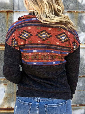 Geometric Zipper Pocket Sweatshirt without Necklace