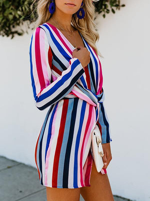 Electra Striped Twist Dress-Mini Dress-Fechicin.com