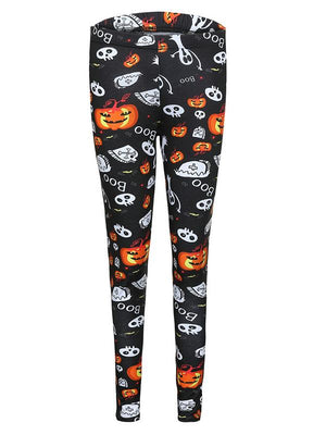Halloween Pumpkin Ghost Skull Boo Leggings
