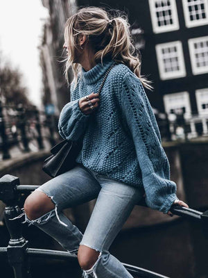 Solid Color O-neck Hollow Sweater