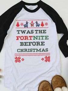 Tw As The Fortnite Before Christmas Baseball T-Shirt