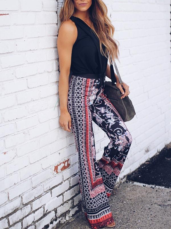 Floral Printed High Waist Wide Leg Pants