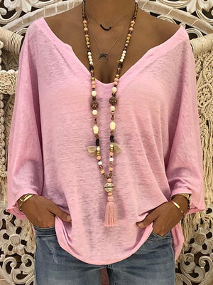 Solid Color Deep V Blouse