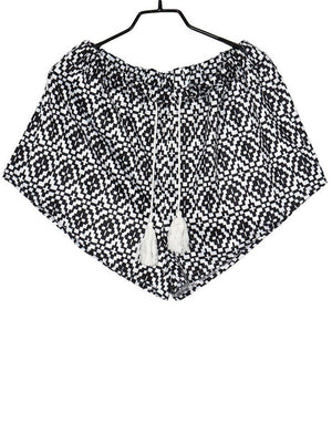 Printed Tassel Tie Front Shorts