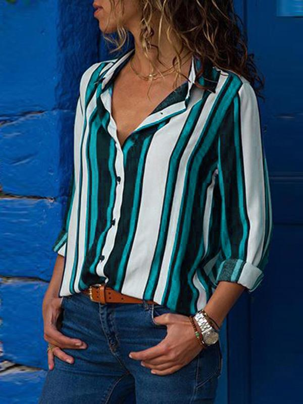 Fashion Striped Long Sleeve Blouse